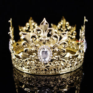 Men's Imperial Medieval Fleur De Lis Gold King Crown 10cm High 18cm Diameter