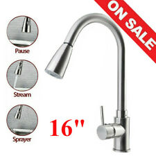 Brushed Nickel Kitchen Faucet Pull Out Sprayer Single Hole Swivel Sink Mixer Tap