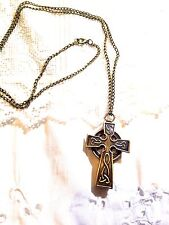 Vintage Reproduction Antique Brass Celtic Cross Watch Necklace