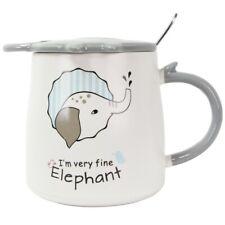 Ceramic Elephant Design Coffee Mug Cup Lid with Spoon 12.5oz Cute Christmas gift