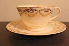 Vintage Cup and Saucer Gold Garland Multicolored Flowers