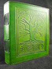 TREE of LIFE Handmade Green Leather Journal Diary Grimoire - Cartridge Paper
