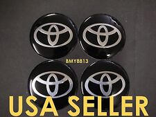 4X NEW TOYOTA BLACK WHEEL 65MM RIM CENTER CAP STICKER DECAL COROLLA CAMRY CELICA