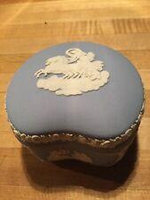 Vintage Wedgwood Light Blue Jasperware Kidney Bean Covered Trinket Box