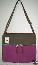 Fossil Colorblock  Erin Crossbody Brown & Magenta ZB5470200 NWT