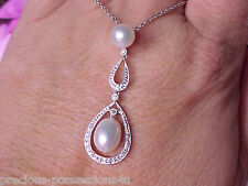 $1,697 STYLISH 14K WHITE PEARL DIAMOND CHANDALIER NECKLACE 5.5GR LOBSTER CLASP