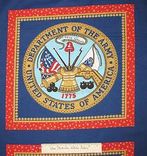 Army Insignia Pillowcase Red Blue - Springs Cotton Fabric Panel