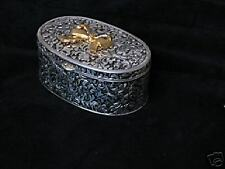 Chelsea Silver Plate Jewelry Box W/ Bow Antiqued Finish