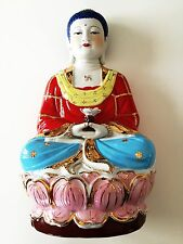 """CHINESE PORCELAIN BUDDHA BISQUE HAND DECORATED GILT GOLD LOTUS SWASTIKA 17"""" TALL"""