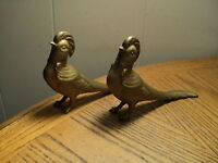 "Vintage Pair Brass Colored Bird Salt & Pepper Shakers Kitchen Tool - 7-1/4"" Long"