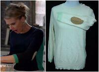 Women's J.Crew Mint /Cream Merino Wool Patch Elbow Colorblock L/S Sweater - Sz L
