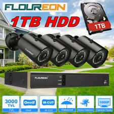 FLOUREON 8CH 1080N CCTV DVR 1TB HDD 3000TVL Outdoor Video Security Camera System
