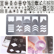 3Pcs Nail Stamping Plates Template French Guide Geometry Flower Born Pretty DIY