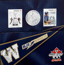 Canada 2012 25 Cents The Winnipeg Blue Bombers Coloured Coin & Stamp Set