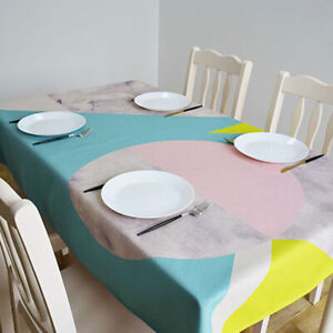 Abstract Rectangle Dining Tablecloth Circles Printed Rectangular Table Cover Z