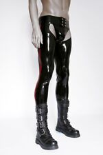 Latex Trousers Sexy Latex Rubber Jock Pants Long Trousers with Trims Open Crotch