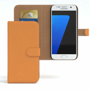 For Samsung Galaxy S7 Flip Case cover Faux Leather Protection Phone Orange
