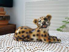 Ceramic terracotta hand painted cub leopard figure ornament