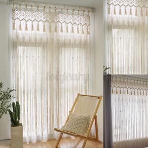 85*200cm Makramee Wandbehang Handgemachte Vorhänge Wandteppich Tapisserie Dekor