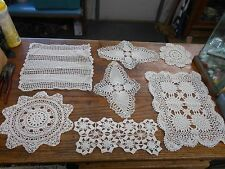 7 vintage cream hand crochet crocheted doilies pineapples and more