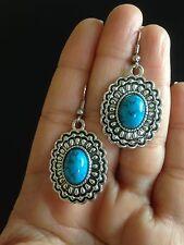Earrings  Silver Turquoise Tribal Hippie Ethnic Boho Gypsy Bohemian A1091