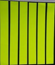 "6 X YELLOW FLUORESCENT STICKY STRIPS OF VINYL/TAPE 8"" x 1""  signs, vehicles."