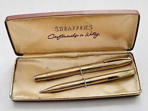 Vintage Sheaffer 14k Gold Nib Foundation Pen & Propelling Pencil Set In Case