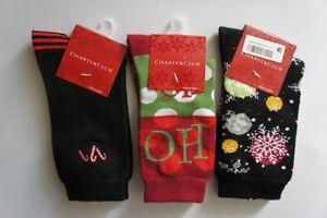 Charter Club 3 Pairs Holiday Socks Sz 9 - 11 Black Venus Red Christmas Socks