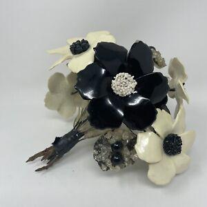 """Vintage Lucite Acrylic Flower Bouquet 9"""" Black & White Mod Retro Boho Floral"""