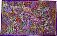INDIAN Tapestry Purple Wall Hanging Table Cover Recycled Sari Lace Embroidery