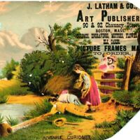 c1870s Boston MA Chauncy Latham Art Publishers Large Trade Card Juvenile Vtg C40