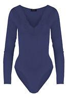 Womens Trim Plunge Ladies Scallop Lace V Neck Long Sleeve Leotard Bodysuit Top