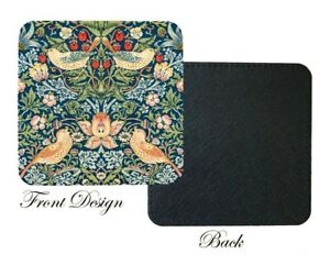 William Morris Strawberry Thief Blue Red Art Print PU leather Coaster, Gift home