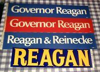 Lot 4 Vintage 1970's Governor Ronald Reagan Bumper Stickers,California, NOS