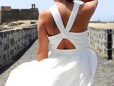 NWT_ ZARA WHITE FLOATY DRESS WITH LOW-CUT BACK KNOTS ON THE NECKLINE SIZE S