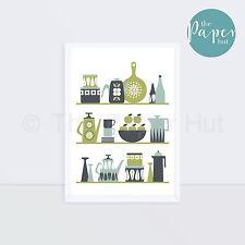 Kitchen | Art Print Green Turquoise Lime A3 | Scandinavian Retro Contemporary