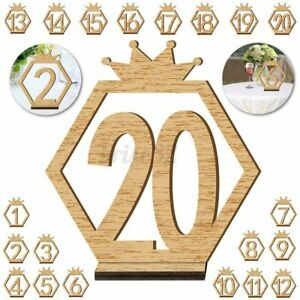 1-20 Sign Wooden Table Numbers Birthday Wedding Party Decor With Base