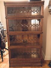 Antique 4 Stack Globe Wernicke Oak barrister bookcase - Mint Leaded Glass -Rare