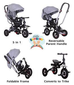 5 in 1 Little Bambino Pushchair Tricycle Trike-grey Kids Multifunction Trike UK