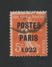 PREO 030 N°30 5 C ORANGE SEMEUSE CAMEE POSTE PARIS 1922
