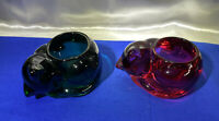 VTG Deep GREEN & Ruby RED Glass SLEEPING CAT Votive Candle Holders Paperweight