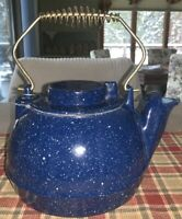 Vintage Ceramic? Granite ware Blue Speckled Teapot - 8.2 Lbs.