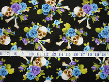 Skulls and Roses Blue and Purple Rose Crossbones Cotton Quilting Fabric 1/2 YARD