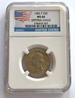 1983 P 25C SPITTING EAGLE Washington Quarter Coin NGC Graded MS 66;I897