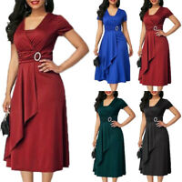 Plus Size Party Women Evening Soft Cocktail Dress Formal Prom Flared Wrap Gown