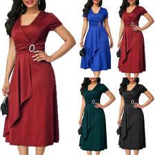Plus Size Women Evening Party Dress Ladies Cocktail Prom Plain Wrap Midi Dresses