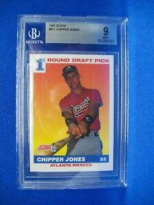 CHIPPER JONES 1991 Score #671 BGS MINT 9 Braves RC