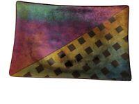 Signed Kurt McVay Art Rectangular Dichronic Iridescent Fused Glass Tray