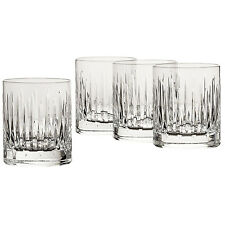 Crystal Double Bar Ware Glass 4pc Set Scotch Whiskey Mixed Drink Heavy Base 8oz