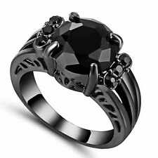 Round Black Clear Cubic Zirconia Engagement Ring 10kt Black Gold Filled Size 7